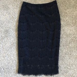 NWOT Navy lace pencil skirt